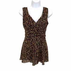 FANG sleeveless Floral Tunic Top size M
